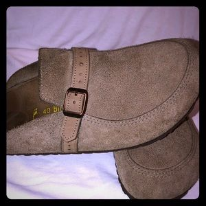 Birkenstock Gray Brown Suede Leather Mules 9